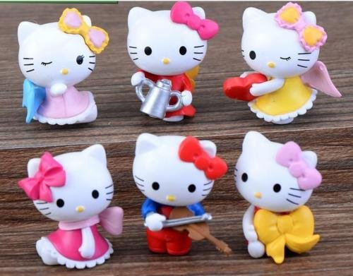 6pcs/set Hello Kitty figure Mini series toys About 3 cm (Costume Store In Atlanta)