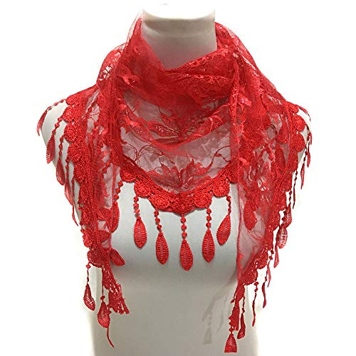 Jonecal Lace Openwork Fringed Triangle Scarf, Fashion Lace Tassel Scarf Shawl (Red) by Jonecal (Image #1)