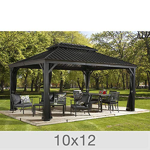 Sojag Messina Galvanized-Steel-Roof Sun Shelter-Grey 12 by 20 ft.