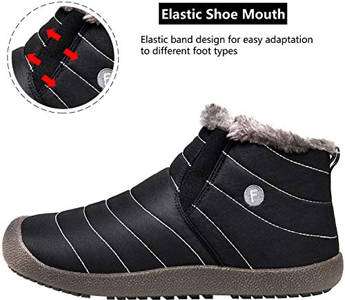 Warm Boots JIASUQI black Booties Slip Women's Outdoor Lining Men's Fur with Snow Non Waterproof Flat Winter Ankle H wqXBtXS