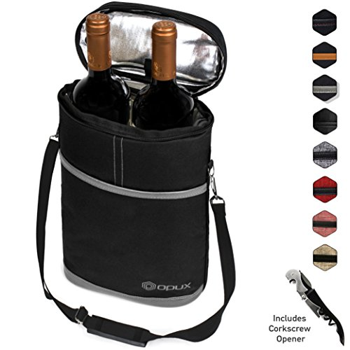 Premium Insulated 2 Bottle Wine Tote   Wine Carrier Bag with Shoulder Strap, Padded Protection, and Corkscrew Opener   Wine Travel Cooler Bag
