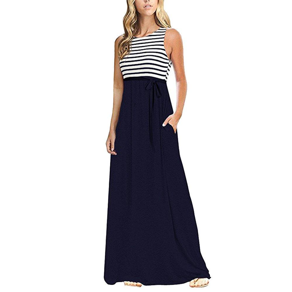 Fanyunhan Sexy Womens Stripe Sleeveless Long Dress O Neck Casual Beach Maxi Dress with Pocket Navy
