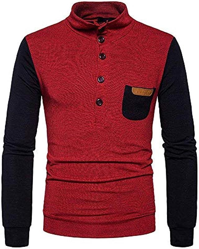 Męski jesienny sweter dziergany sweter z dopasowanym Slim Troyer stÓjka kolor patchwork bluza z długim rękawem z guzikiem: Odzież