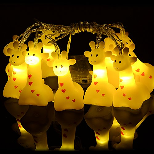 Cute Animal Giraffe Shape LED String Lights, 4.9ft Battery Operated 10 LED Decorative?for Indoor/Outdoor Halloween Christmas Thanksgiving Home Party Children Bedroom Home Holiday -