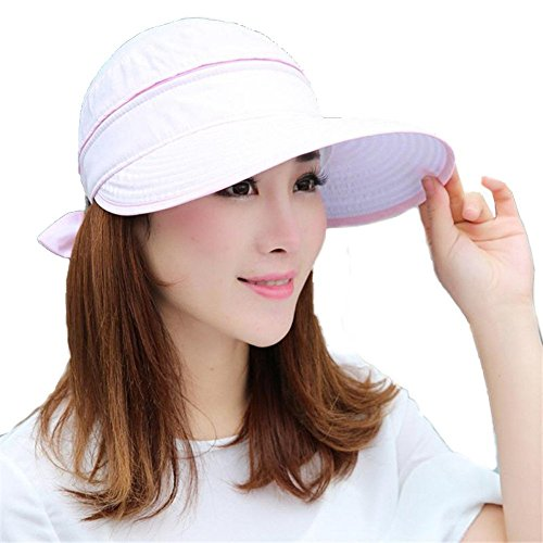 Women Floppy Hat Summer Zipper Big Foldable Soft Pink Hat Outdoor Cycling Cotton Sun Hat Mask Beach Cap