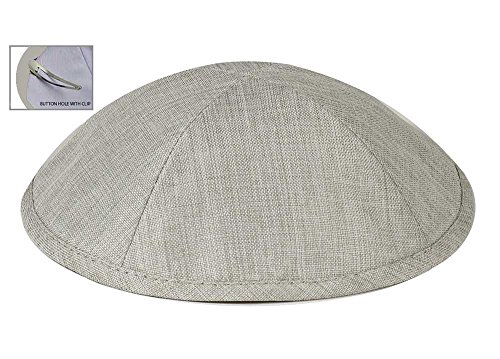 (Zion Judaica Deluxe Linen Kippot for Affairs or Everyday Use Single or Bulk Orders - Optional Custom Imprinting Inside for Any Affair (12 Pack, Light Grey) )