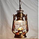 Adsled Lighting Vintage Edison Barn Lantern Iron Kerosene Lamp Oil Light Aisle Red Copper Color Industrial Ceiling Light Pendant (Copper)