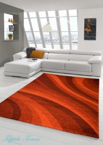 Designer Teppich Moderner Teppich Wohnzimmer Teppich Velours Kurzflor Teppich mit Winchester Wellen Muster in Rot Größe 120x170 cm