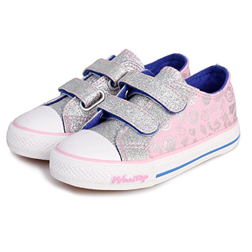 Weestep Toddler/Little Kid Glitter Double Strap Sneaker (8, (Double Strap Sneakers)