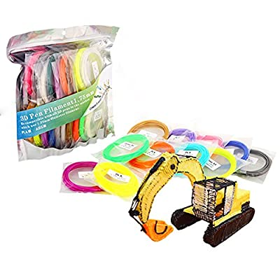 DAZZLE LIGHT 3D Pen PLA Filament Refills, Diameter 1.75mm 20 Colors (4 Glow in the Dark) 16.4 Feet Each, Non-toxic No Odor, Universal PLA Refills Pack for 3D Drawing Pen