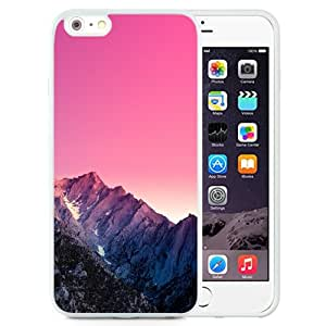 Unique and Attractive TPU Cell Phone Case Design with Mountain Peak Pink Gradient Effect iPhone 6 plus 4.7 inch Wallpaper in White
