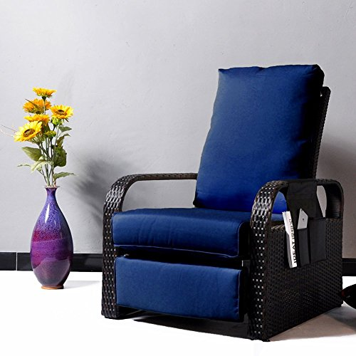 Outdoor Wicker Recliner Chair with 5.12'' thickness Cushions, Automatic Adjustable Rattan Patio Chaise Lounge Chairs, Aluminum Frame, UV Resistant and Rustless (Brown Wicker + Navy Blue Cushion) (Cushions Chair Patio Resin)