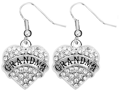 [Mother's Day Gift for Grandma Earrings Engraved Gift Jewelry For Grandma Crystal Adorned Heart Shaped Pendant French Hook Earrings Gift for Mom or Grandma] (Simple Cheer Dance Costumes)