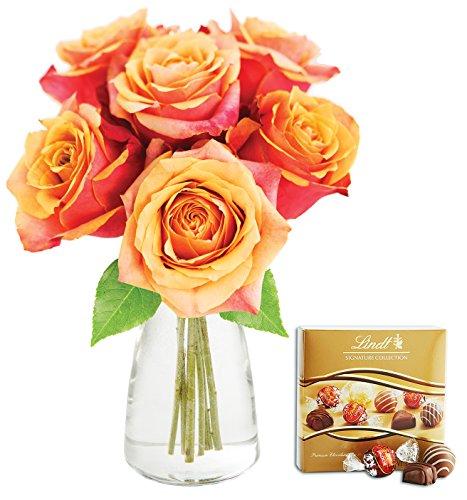KaBloom Bouquet of 6 Fresh Cut Orange Roses (Long Stemmed)