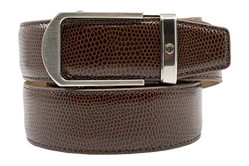 2019 Aldrich Brown Reptile Lizard Leather Dress Belt for Men with Adjustable Ratchet Buckle - Nexbelt Ratchet System Technology (Reptile Buckle Belt)