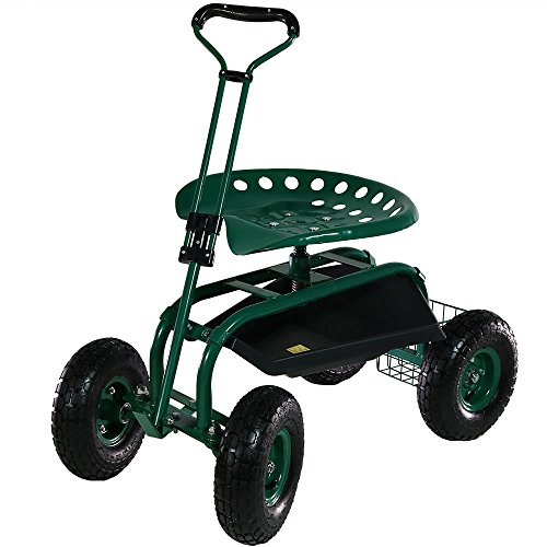 Sunnydaze Garden Cart Rolling Scooter with Extendable Steering Handle, Swivel Seat & Utility Basket, Green by Sunnydaze Decor (Image #2)