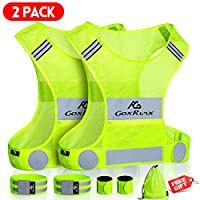 GoxRunx 2 Pack Reflective Vest Running Gear, Ultralight & Comfy Cycling Reflective Vests with Large Pocket & Adjustable Waist for Women Men, Night Runner Safety Vest + Hi Vis Armbands & Bag (Large)