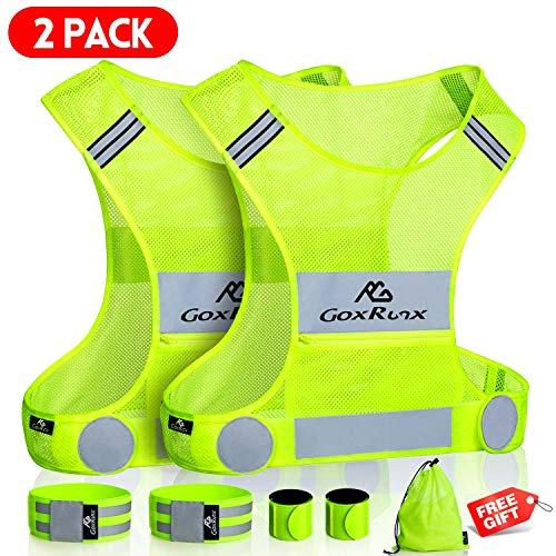 2 Pack Reflective Running Vest Gear with Large Pocket & Adjustable Waist for Men Women,Ultralight & Comfy Reflective Vest for Walking Cycling,Hi Vis Safety Vest in 5 Sizes +4 Bands&Bag (Large)