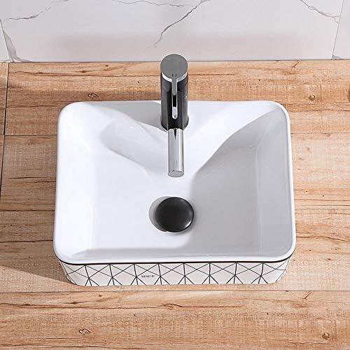 洗面ボール バスルームアーティスティック容器シンクの上カウンターシンクアート盆地のために洗面所バニティキャビネット 洗面器 (Color : Rectangle B, Size : 48x37x13cm)