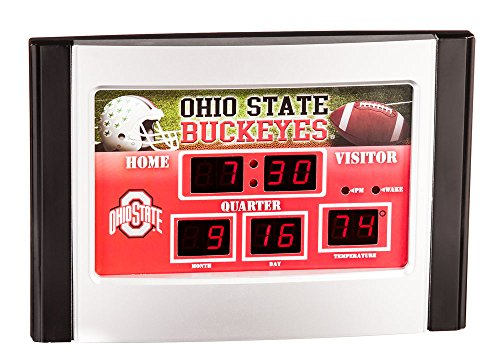 Evergreen NCAA Ohio State Buckeyes Desk and Alarm, Team Colors, One Size - Ohio State Desk Clock
