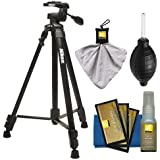 """Nikon 60"""" Full Size Tripod with 3-Way Panhead (Black) + Cleaning Kit for Digital SLR Cameras & Lenses"""