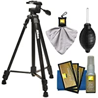 Nikon 60 Full Size Tripod with 3-Way Panhead (Black) + Cleaning Kit for Digital SLR Cameras & Lenses