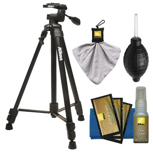 Nikon 60'' Full Size Tripod with 3-Way Panhead (Black) + Cleaning Kit for Digital SLR Cameras & Lenses by Nikon