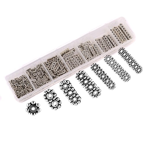Aprilsky 370pcs 1-7 Strand 4mm Rondelle Spacer Antique Broneze Daisy Flower Spacer beads for Bracelet DIY Finding Jewelry Making Mix Lot Assortment - 2 Strand Spacer