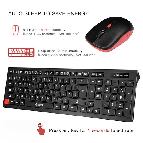 Wireless Keyboard and Mouse Combo, RECCAZR WC500 Office 2.4GHz Wireless USB Mouse Keyboard and Mouse Set for PC (Black)