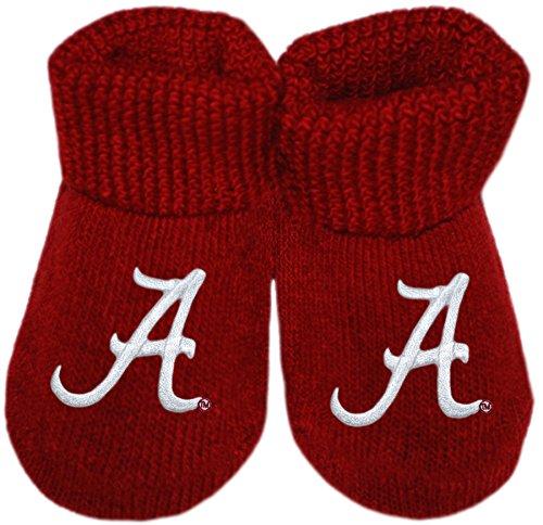 Creative Knitwear University of Alabama Crimson Tide Script A Newborn Baby Bootie Sock