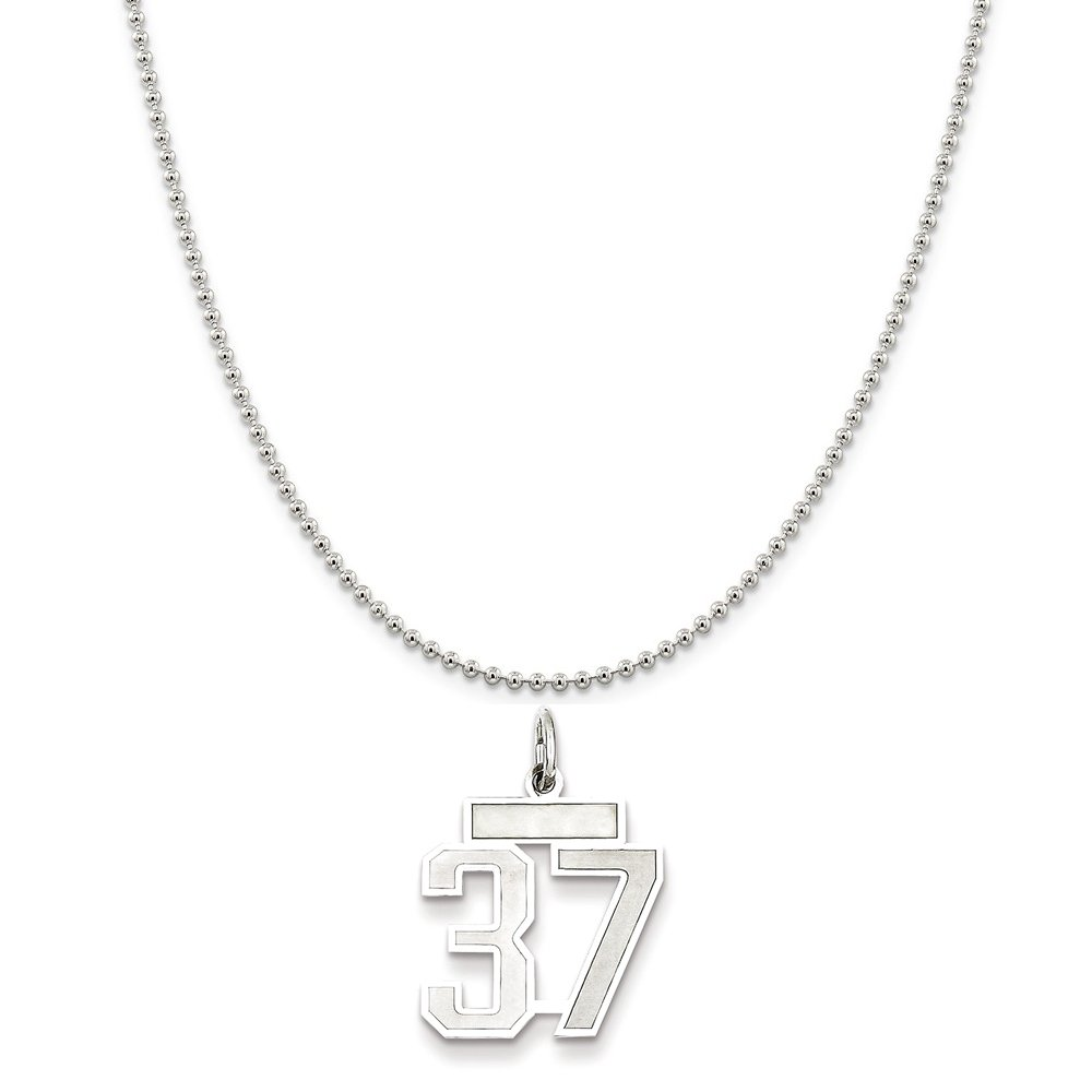 Sterling Silver Small Satin Number 37 on a Sterling Silver Cable Snake or Ball Chain Necklace