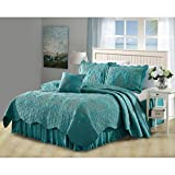 5 Piece Teal Damask King Coverlet Set, Coastal Flowers Embroidered Floral Themed Bedding, Motif Flower Quilted Pattern Elegant Classy Vintage Style Cross Stitching Bed Skirt, Polyester