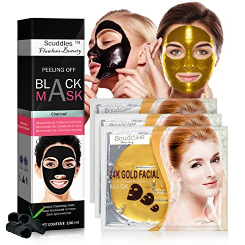 Scuddles - 24KT Gold Bio-Collagen Facial Masks 3 SETS Nourishing And Exfoliating, Anti-Aging With Collagen Building Properties Protects From Fine Lines BONUS Blackhead Remover Peel Off Mask (Collagen Building)