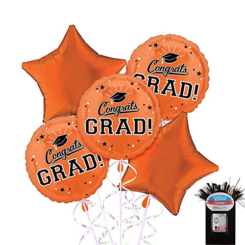 Party City Congrats Grad 5 Count Foil Balloon Kit with Curling Ribbon, Orange 2019 Graduation Party Suppliess -