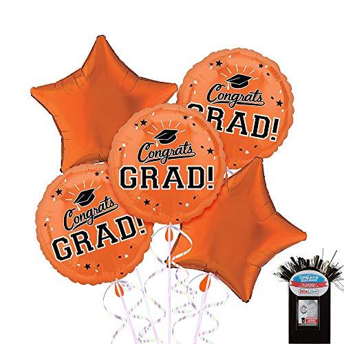 Party City Congrats Grad 5 Count Foil Balloon Kit with Curling Ribbon, Orange 2019 Graduation Party -