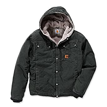 Carhartt Men's Sherpa Lined Sandstone Hooded Multi Pocket Jacket J284,Moss,Small