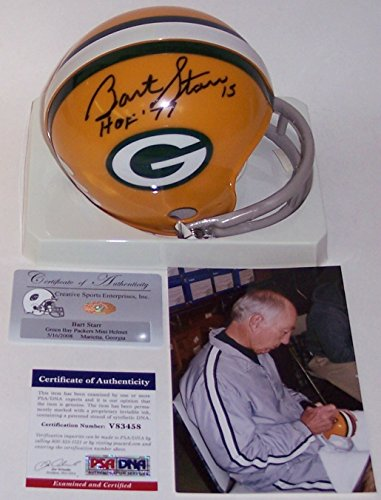 Bart Starr Autographed Hand Signed Green Bay Packers Mini Football Helmet - with HOF 77 Inscription - PSA/DNA