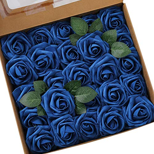Gsdviyh36 25Pcs Artificial Flower PE Rose Stick Wedding Bouquet Wreath DIY Party Decor, Fake Flowers Artificial Greenery for Home Garden Party Wedding Decoration Sapphire Blue from Gsdviyh36