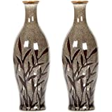 "Hosley Set of 2 Ceramic Vases with Flower Design - 8.5"" High. Great for fireplace mantles, Home office, Spa/Aromatherapy settings, or as a gift O6"