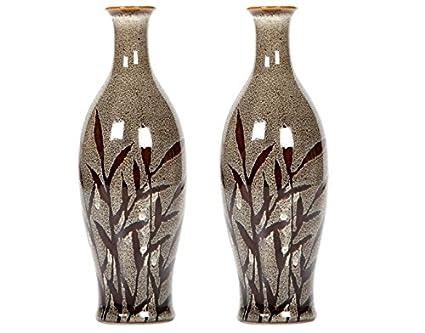 Amazon.com: Hosley Set of 2 Ceramic Vases with Flower Design - 8.5 ...