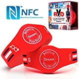 NFC Tag Bracelet (Pack of 2): Silicone Wristband for Phone Access Control, Contactless Payments, Stylish Men-Women Band, Android Compatible 512 Bytes Memory ~ RFID Chip ~ Waterproof for Sports