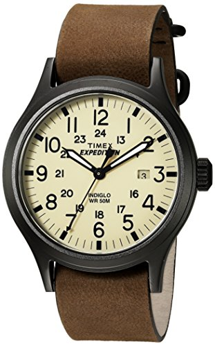 Timex Men's TWC007000 Expedition Scout Tan/Brown Leather Slip-Thru Strap Watch