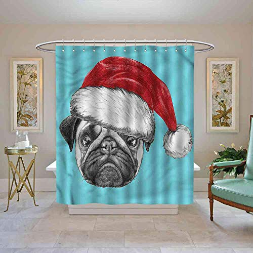 HoBeauty Shower Curtain Pug,Dog with Santa Hat X Mas Classic Shower Curtain, W69 x L70 (Sox White Toothbrush)