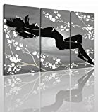 Abstract Naked Canvas Wall Art Painting Modern Design Picture For Home Office Decor - 3 Pieces Girl Flower Framed On Wooden Frame Image Pictures Photo Artwork Decoration Ready To Hang