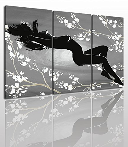 Abstract Naked Canvas Wall Art Painting Modern Design Picture For Home Office Decor - 3 Pieces Girl Flower Framed On Wooden Frame Image Pictures Photo Artwork Decoration Ready To Hang by Free Dreamer