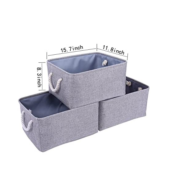 """tegance Grey Basket Storage Baskets [3-Pack] Fabric Baskets Rectangular Storage Bins Decorative Baskets Canvas Storage Basket for Empty Gifts, Basket Storage for Nursery 15.7""""x 11.8""""x 8.3"""" - MULTI-PURPOSE STORAGE BINS:Set of 3,Great grey linen basket for books,magazines,toy storage,dog toys basket,shoe basket,clothes basket,shelf,baby bin,pet toy storage,towel basket,blankets,decorations,office supplies,DVD and gifts,Decorative basket ideal for living room,bedroom,bathrooms,utility room,kids room,Nursery Room,craft room,playroom,closet,dorms,condos,laundry room,toilet or even in the hallway SOLID CONSTRUCTION:Fabric Basket Storage Bins are Constructed of Fabric with a Sturdy Base and Thick Rope Handles for Easy to Carry or Pull Off and Out of Shelves,It is easy to clean,just wipe with a damp sponge or cloth. Dimensions:15.7""""(L)*11.8""""(W)*8.3""""(H);it has enough space for toys/books/DVD/grocery/Clothes/ underwear etc - living-room-decor, living-room, baskets-storage - 51UtdMg%2BugL. SS570  -"""