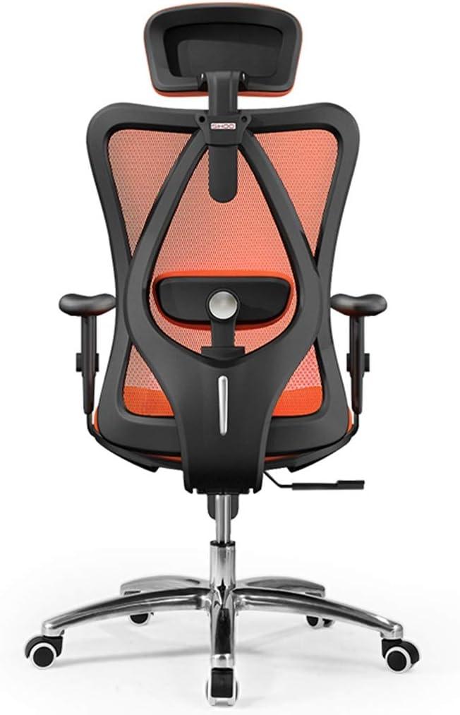 デスクチェア 人間工学に基づいた椅子 コンピューターゲームの椅子 ホームeスポーツの座席 オフィスの背もたれのオフィスの椅子 柔軟で (Color : Orange)