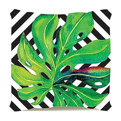 Almofada Decorativa Personalizada Cheia Sofá Folha Verde