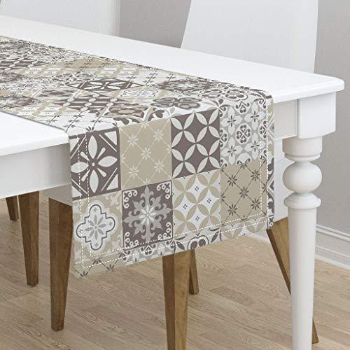 Table Runner - Catalina Tiles Catalina Tiles Ornate Neutral Neutral Geometric Tiles Ornate Home by Delinda Graphic Studio - Cotton Sateen Table Runner 16 x 108 ()