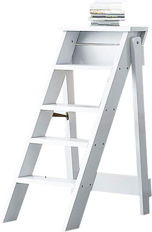 XWZJY Taburete de 5 peldaños Plegable Subir Escalera Casa De Madera Escalera de Tijera para la Sala de Estar del Dormitorio de la Biblioteca Elegante Estante de Almacenamiento, 150 kg de Capacidad: